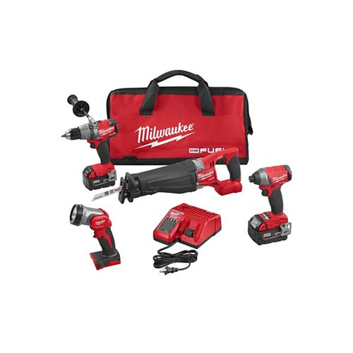 M18 FUEL 18V Lithium-Ion Brushless Cordless Combo Kit (4-Tool) with (2) 5.0 Ah Batteries, Charger, Tool Bag