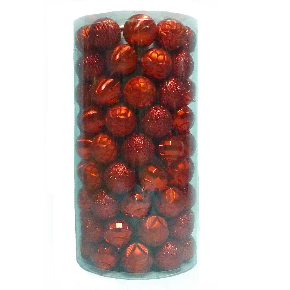 Home Accents Boules de Noël résistantes aux bris, rouge, 60 mm, 101/paq.