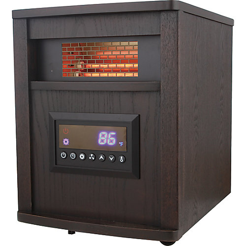 Infrared Quartz Heater, Wood Cabinet- 4 elements
