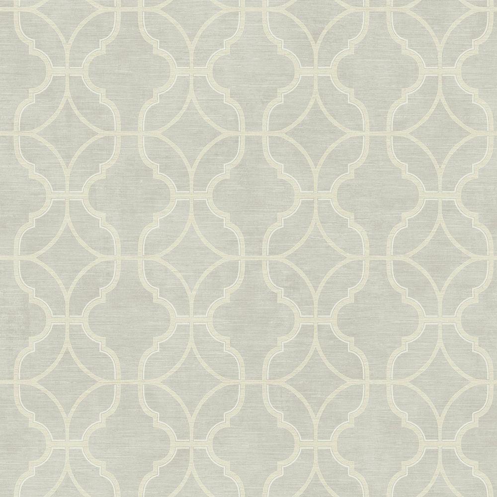 York Wallcoverings Sapphire Oasis Silver/Cream Lattice Wallpaper