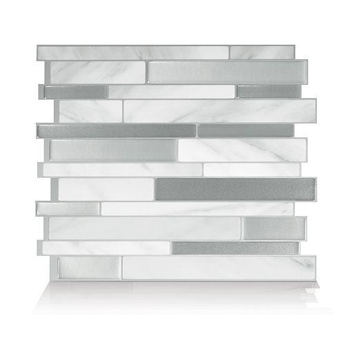 Tuiles décoratives pour murs, 11,55 po x 9,65 po, Milanno Carrera, gris