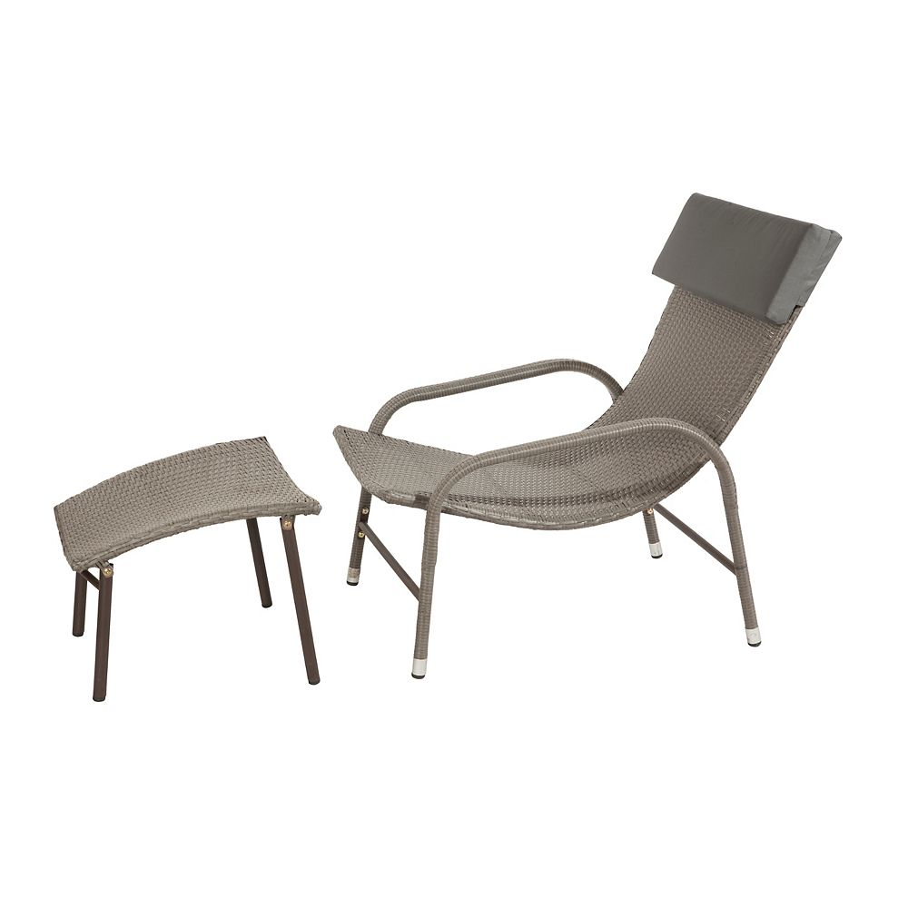 Patio Flare Ariel Sun Chair And Ottoman Ash Brown Wicker, Dark Grey Cushion