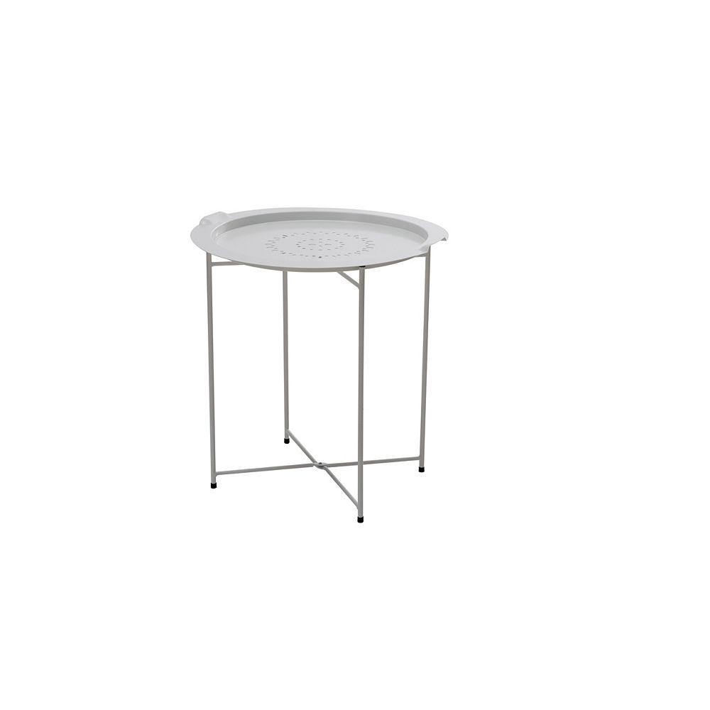 Sunjoy Side Table avec plateau amovible en blanc