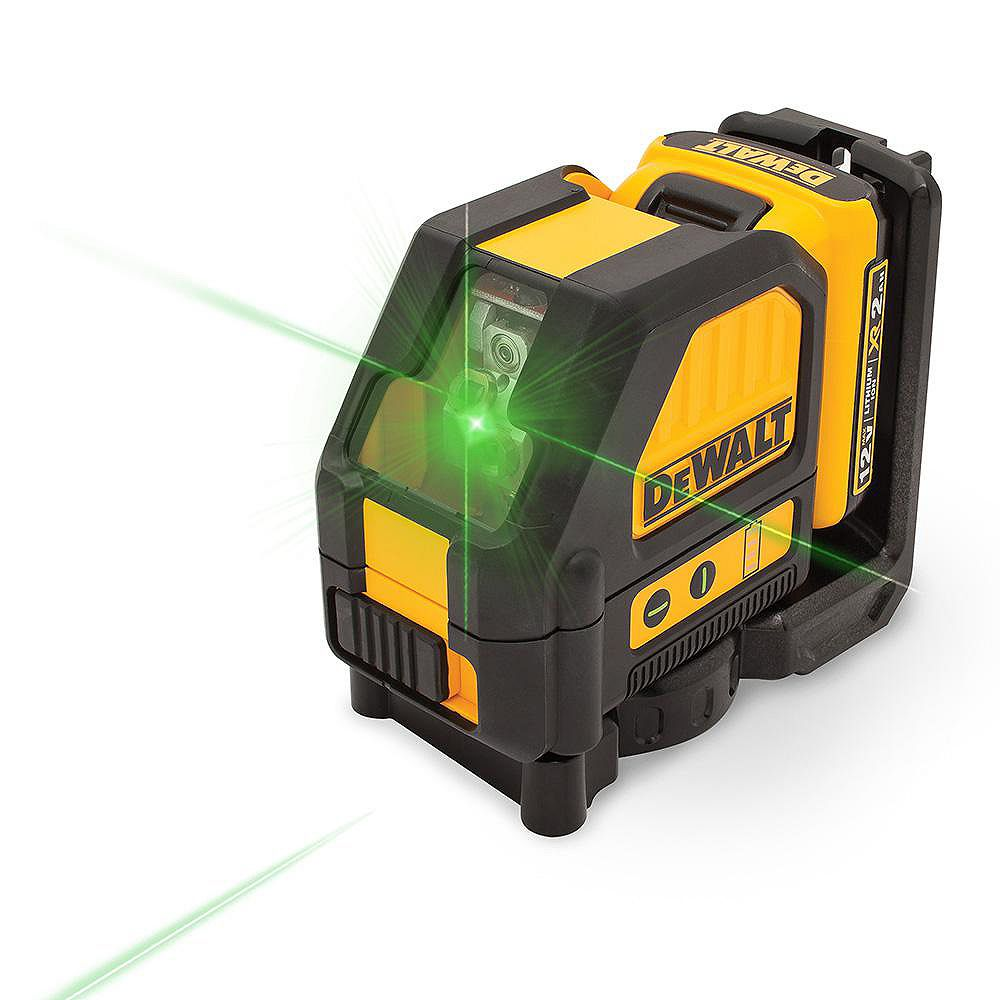 DEWALT 12V MAX Lithium-Ion 165 ft. Green Self-Leveling Cross-Line Laser Level with Battery 2Ah, Charger, & Case