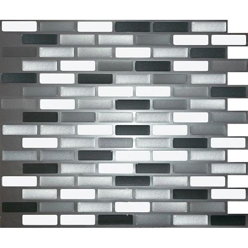 GLASS GREY OBLONG Peel and Stick-It Tile 11 X 9.25 Inch Value (4-Pack)