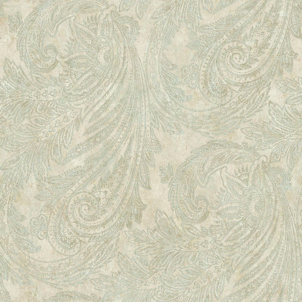 York Wallcoverings Sapphire Oasis Cream/Aquamarine Paisley Wallpaper