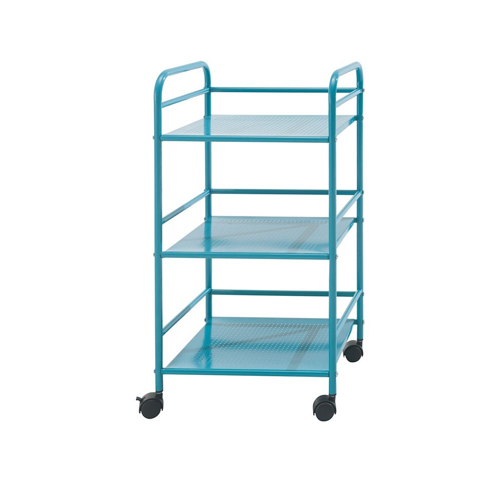 Sunjoy 3 Tiered Metal Shelving with Wheels in Turquoise