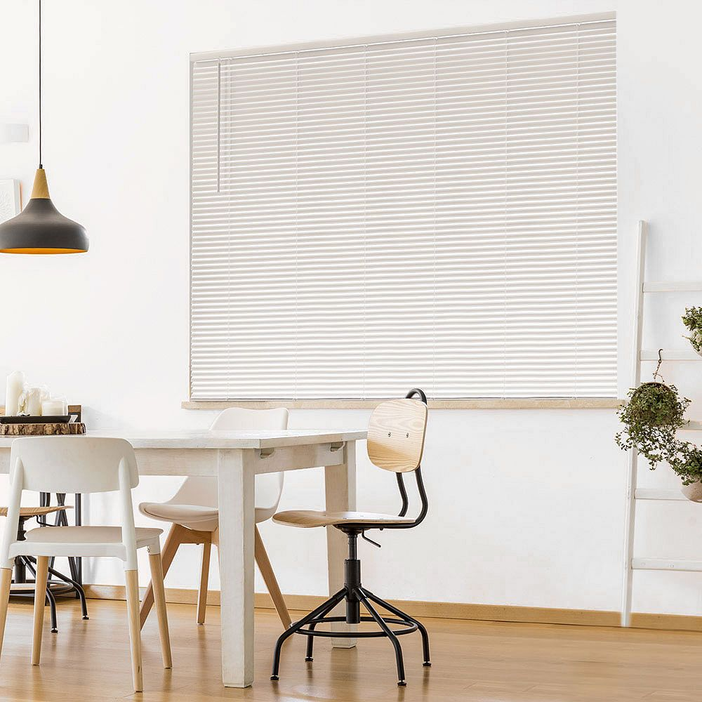 Hampton Bay Cordless 1 3 8 Inch Room Darkening Vinyl Cut Blinds White 24 Inch X 72 Inch A The Home Depot Canada