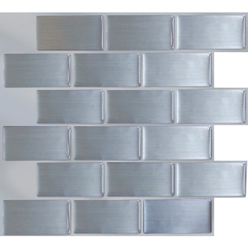BRUSHED STEEL Peel and Stick-It Tile 11X9.25 Inch Value (4-Pack)