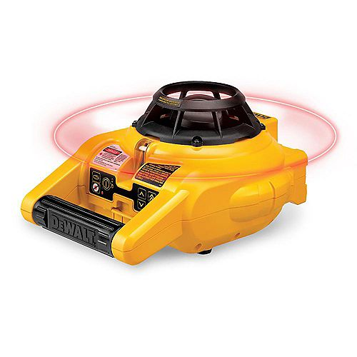 150 ft. Red Self-Leveling Rotary Laser Level w/ Detector & Clamp, Wall Mount, Remote, Bag, (2) D & (1) 9V battery