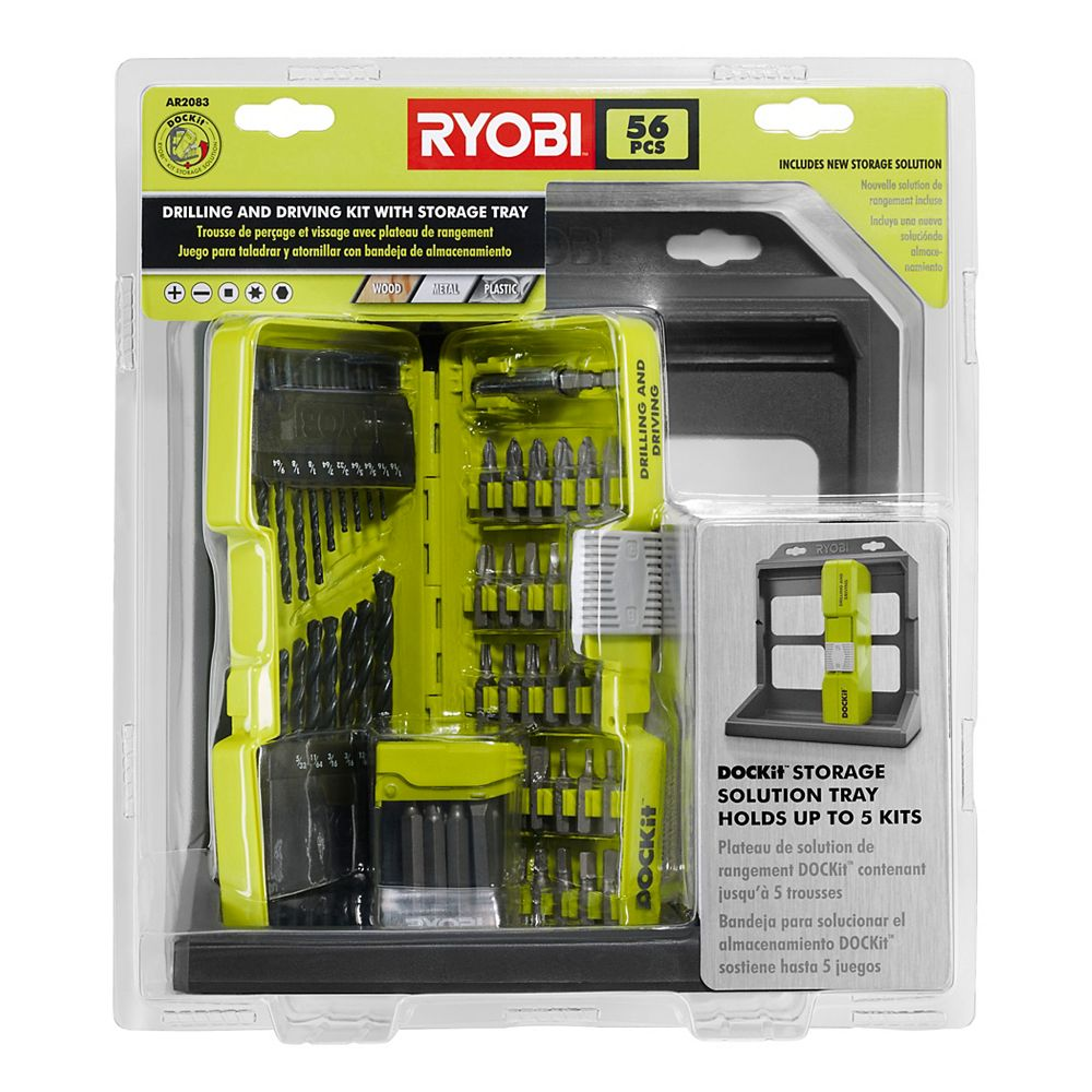 Ryobi Dockit Drilling And Driving Kit With Storage Tray 56 Piece The Home Depot Canada