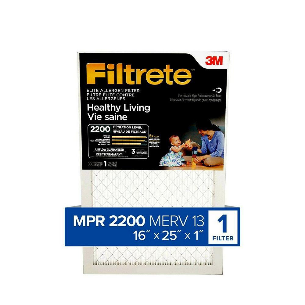 Filtrete Filters Healthy Living MPR 2200 Elite 16-inch x 25-inch x 1-inch Allergen Filtrete Furnace Filter