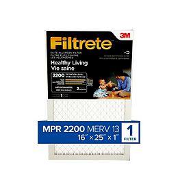 Healthy Living MPR 2200 Elite 16-inch x 25-inch x 1-inch Allergen Filtrete Furnace Filter