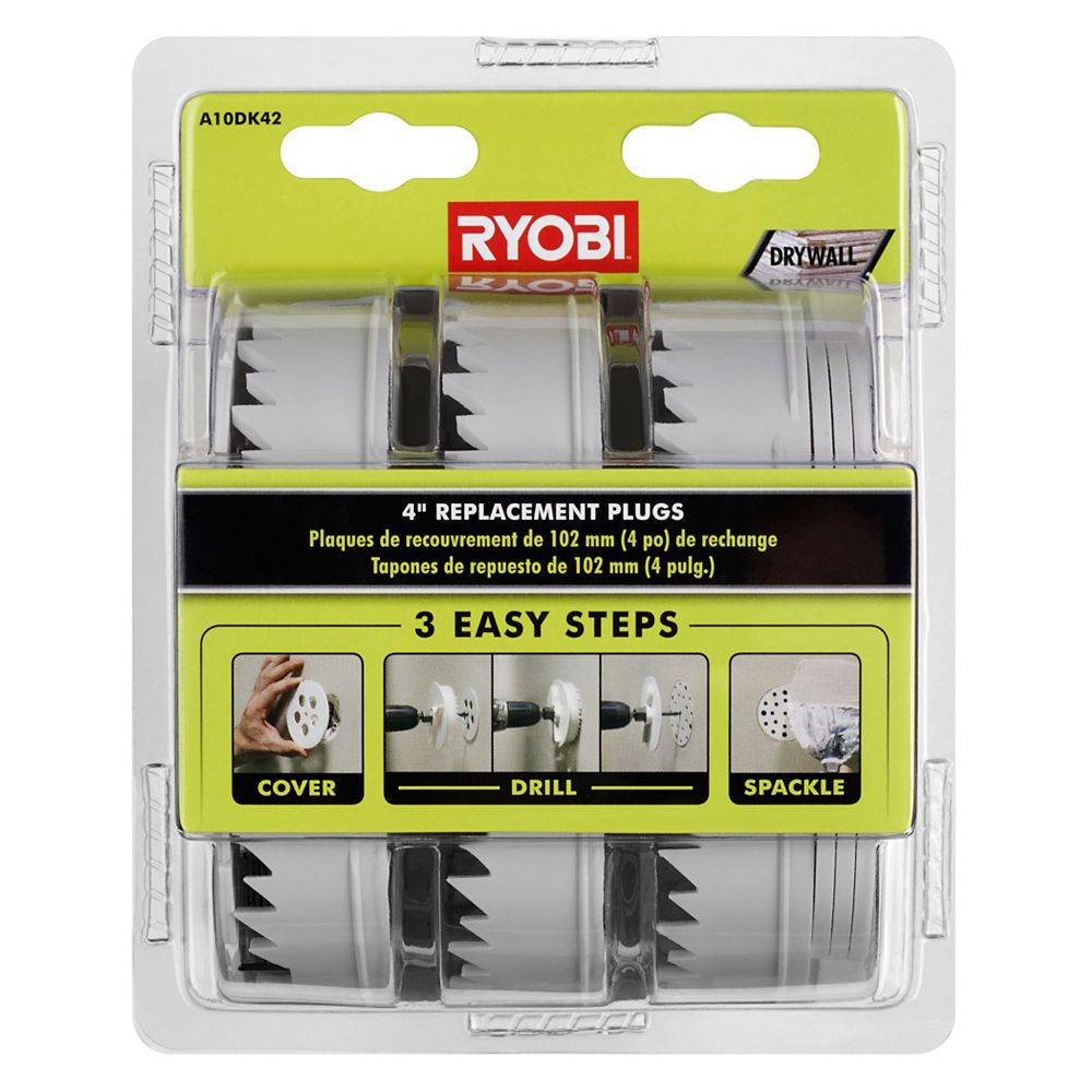 RYOBI Bouchons de remplacement de 4 po pour le kit de réparation de cloison sèche