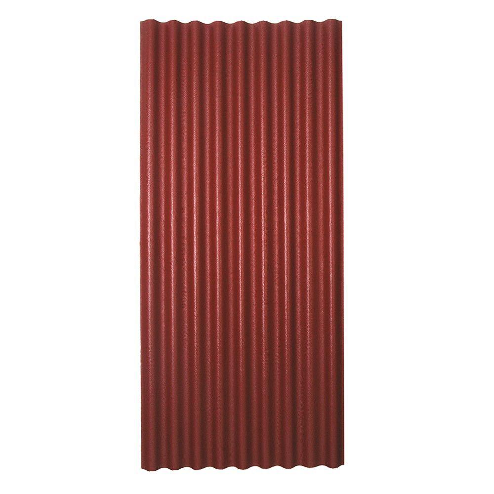 Ondura Panneau de toiture asphaltée ondulée rouge 36 po x 79 po