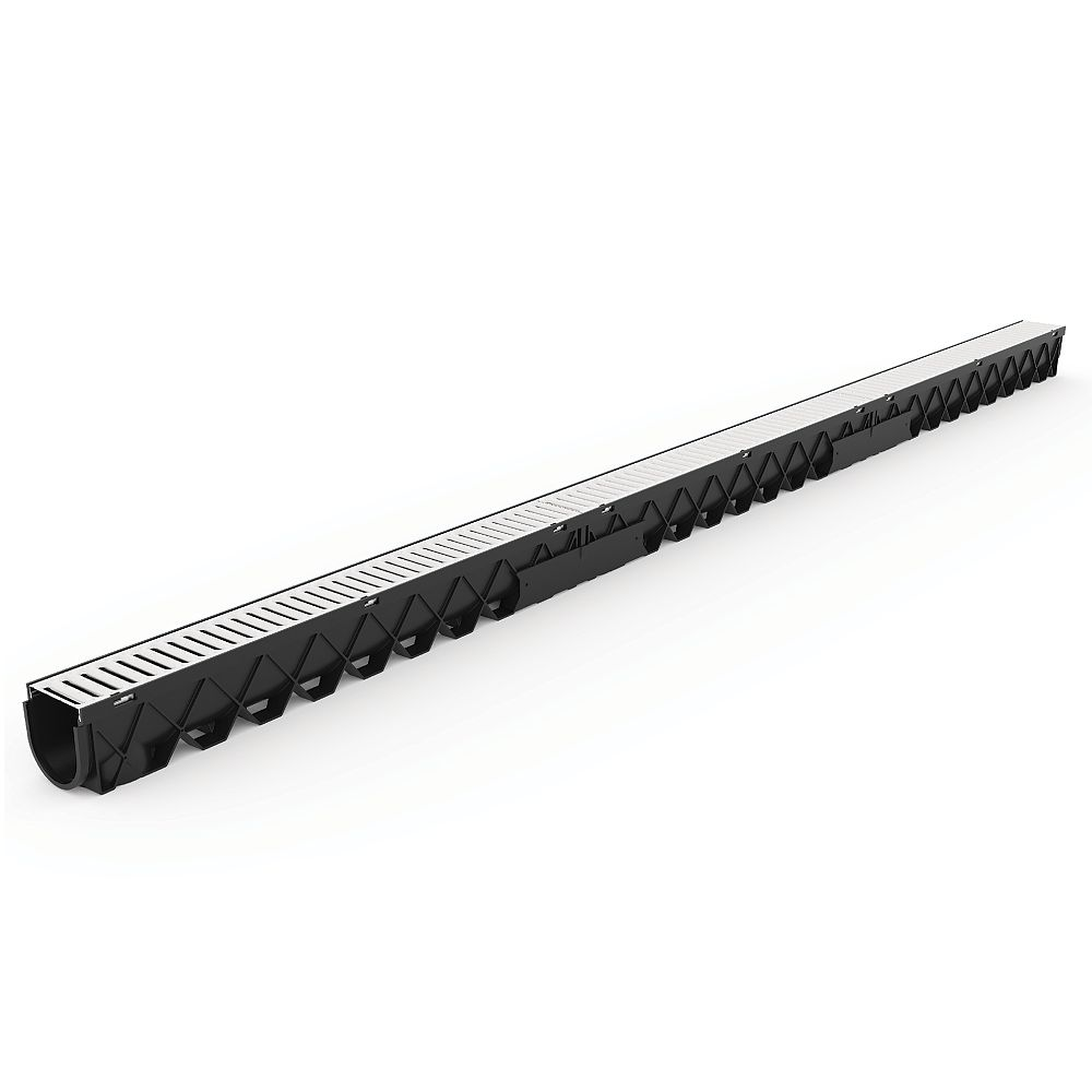 RELN 10 ft. Storm Drain Deep Channel Drain Series with Stainless Steel Grate