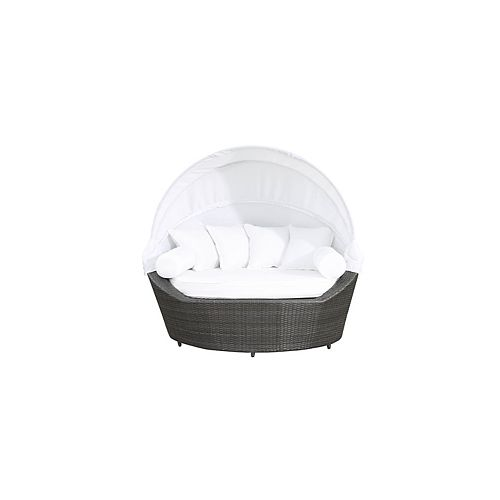 Sogno All-Weather Wicker Patio Loveseat Canopy Daybed with White Cushions