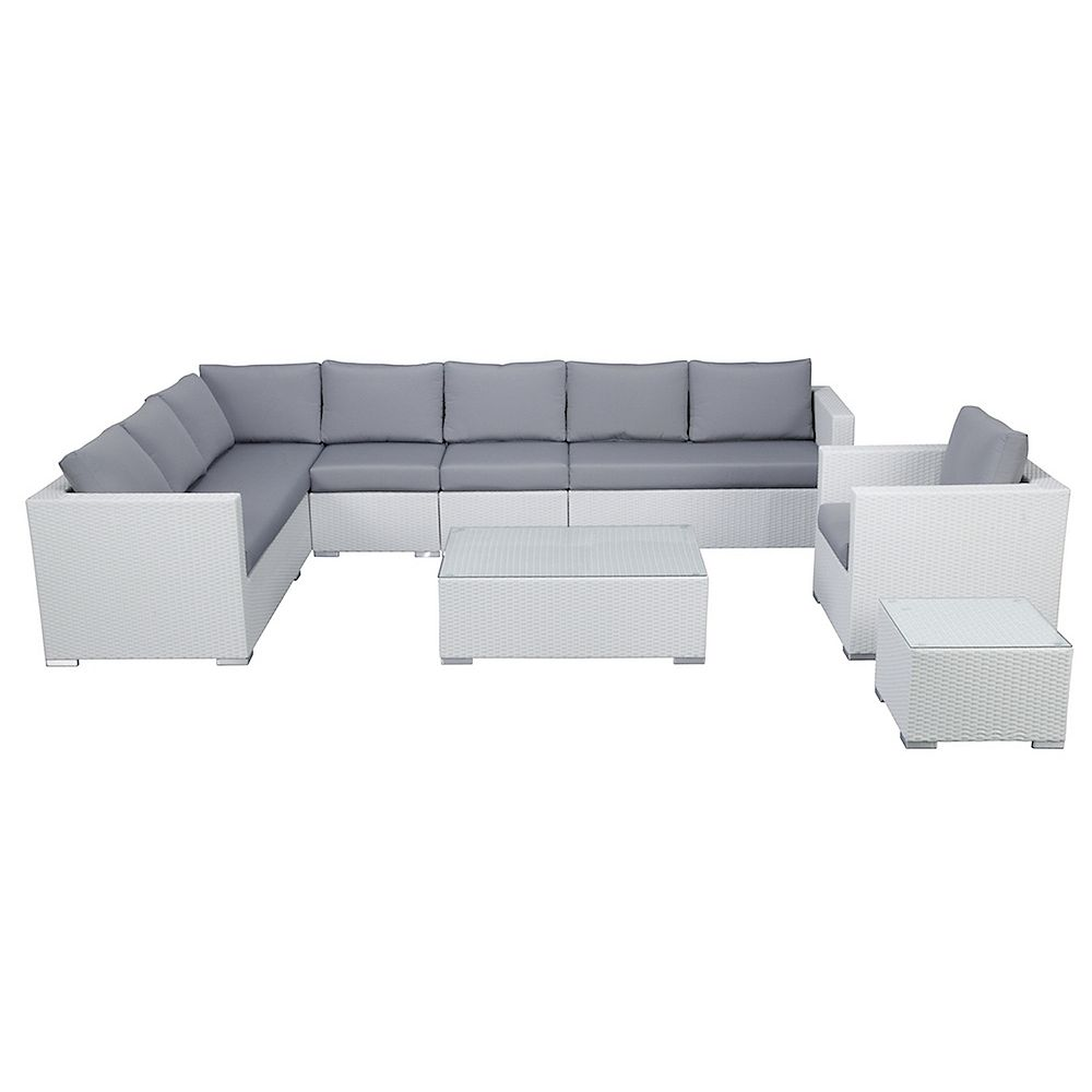 Velago Generoso L-Shape Outdoor Sectional Lounge Set in White Wicker