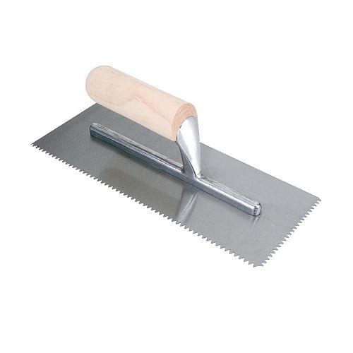 1/4 inch x 3/16 inch V-Notch Pro Trowel with Wood Handle