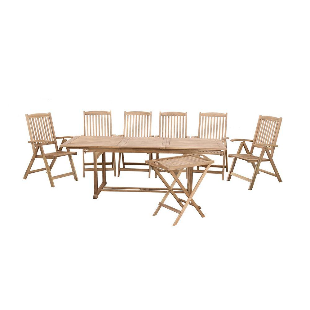 Beliani Riviera 8-Piece Solid Wood Garden Dining Set