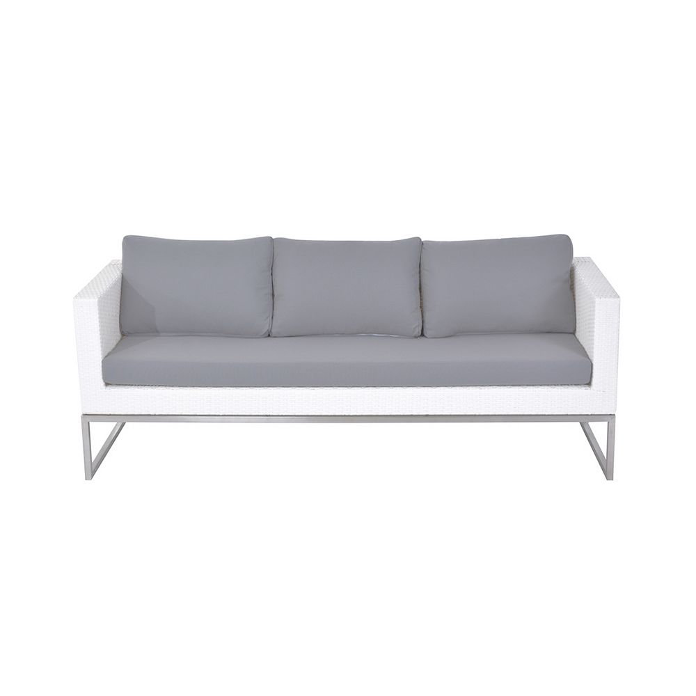 Velago Capriasca 3-Seater Outdoor Sofa in Stainless Steel and White Wicker