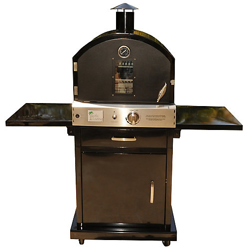 Powder Coated Pizza Oven in Black with Cart Stand