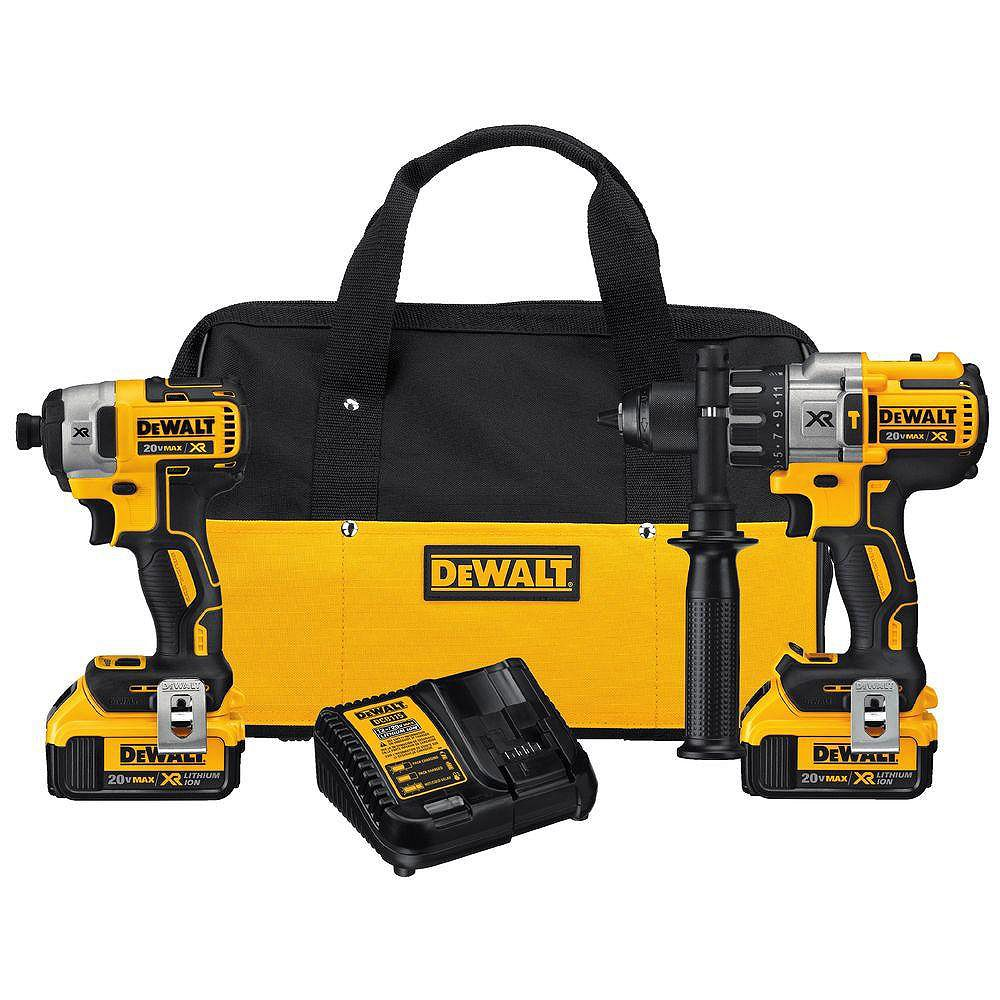 DEWALT 20V MAX XR Lithium-Ion Cordless Brushless Hammer Drill/Impact Combo Kit (2-Tool) with (2) 4Ah Batteries and Charger