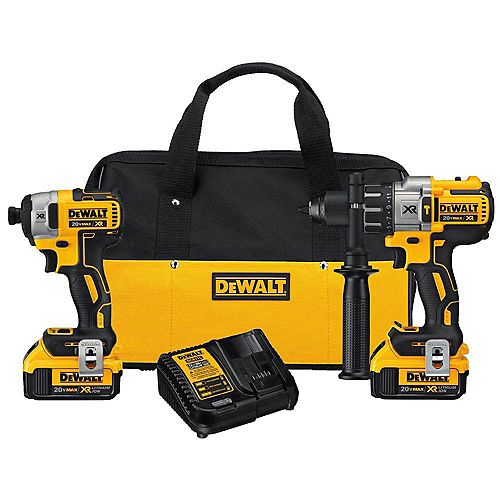 DEWALT 20V MAX XR Lithium-Ion Cordless Brushless Hammer Drill/Impact Combo Kit (2-Tool) with 2 Batteries 4 Ah and Charger