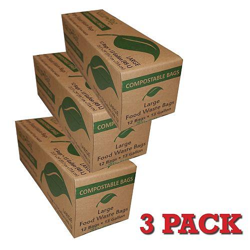 13 Gal. Sacs compostables (carton de 12 sacs) 3Pack