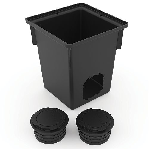 9 inch X 9 inch Catch Basin With Pipe Connectors