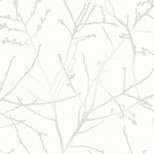 Innocence Branches White/Silver/Grey Wallpaper