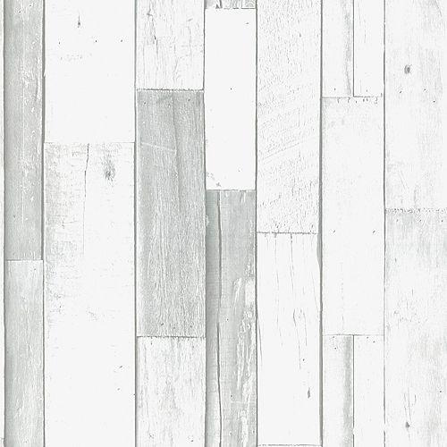 Scrapwood Grey/White Wallpaper
