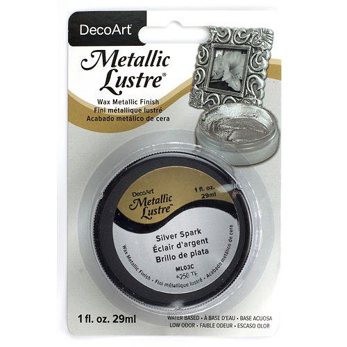 DecoArt Metallic Lustre Pot 1oz -Silver Spark