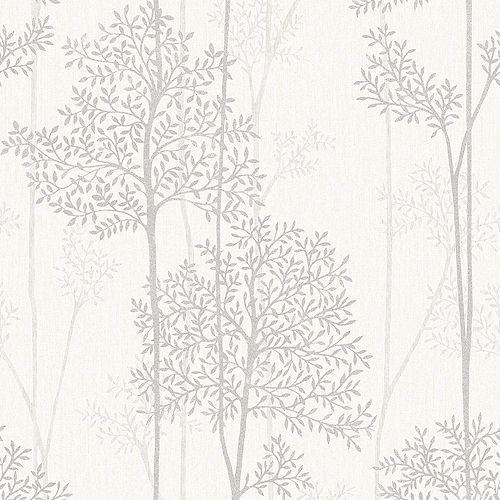 Forêt Éternelle Papier Peint Blanc/Mica/Beige
