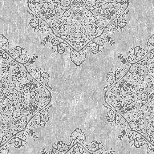Marrakech Distressed Damask Grey Wallpaper