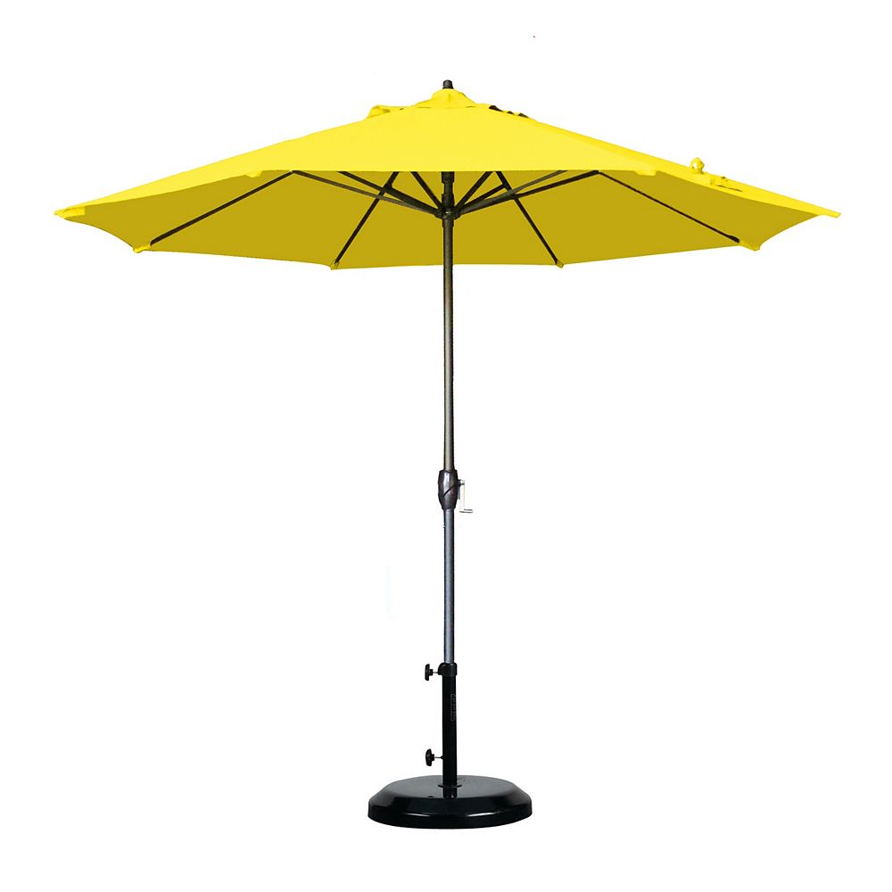 California Umbrella 9' aluminium marché parasol Auto Tilt Lift manivelle Bronze/Olefin/citron