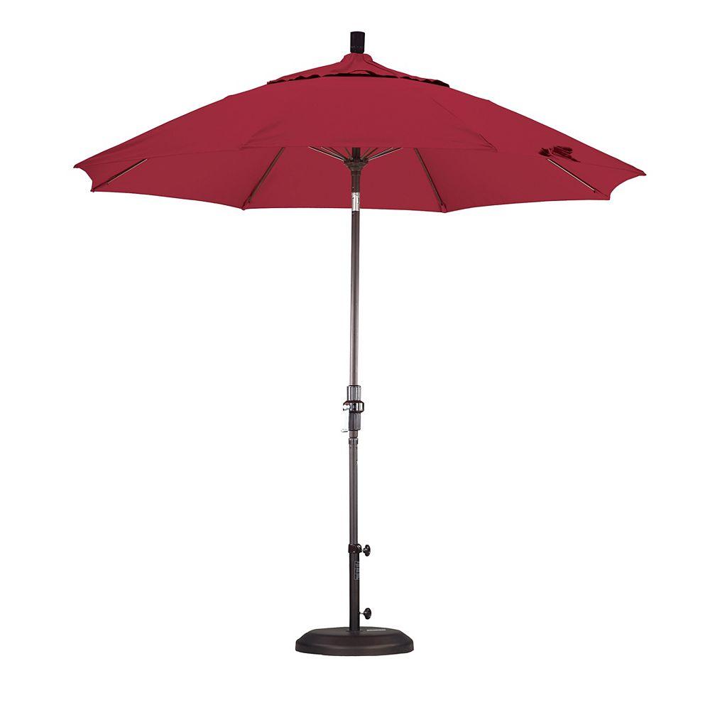 California Umbrella 9 Feet Fiberglass Market Umbrella Collar Tilt Bronze/Sunbrella/Jockey Red