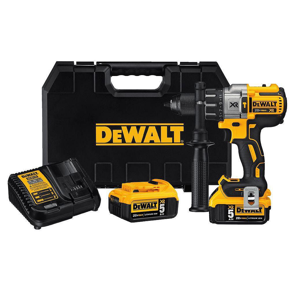 DEWALT 20V MAX XR Lithium-Ion Cordless Brushless Premium Hammer Drill with (2) Batteries 5.0Ah, Charger and Hard Case