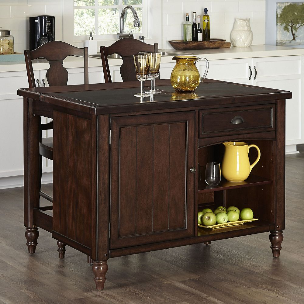 Country Comfort Kitchen Island and Two Bar Stools