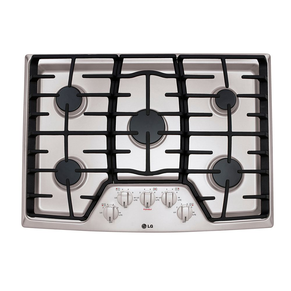 LG Electronics 30-inch Recessed Gas Cooktop in Stainless Steel with 5 Burners including 17K SuperBoil Burner