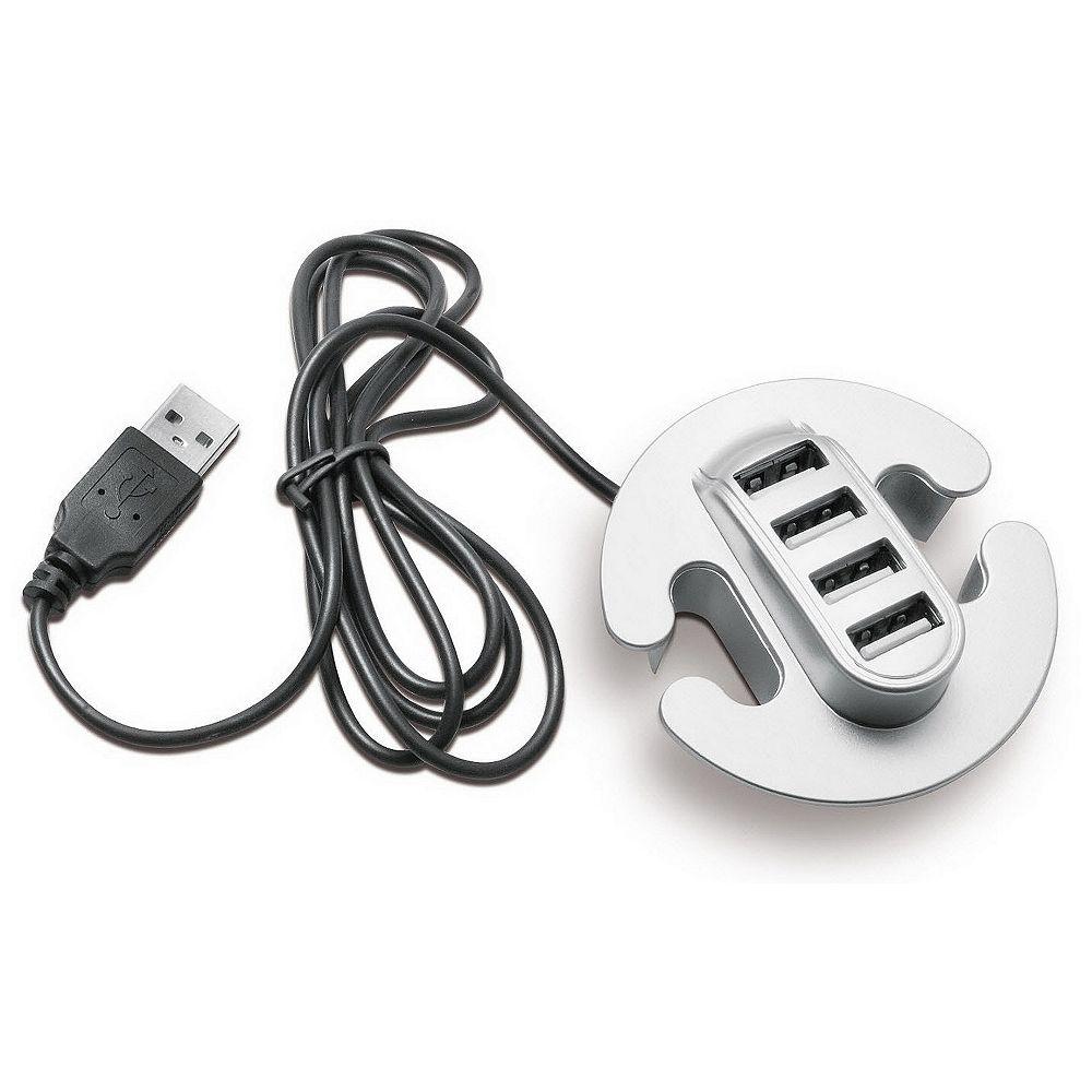 Richelieu 4-Port USB 2.0 Hub Desktop Grommet with Cable, Silver