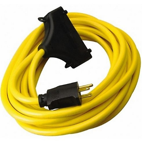 Yellow GFCI Tri-Outlet Extension Cord 12/3 SJTW 2 ft. (0.6 M)