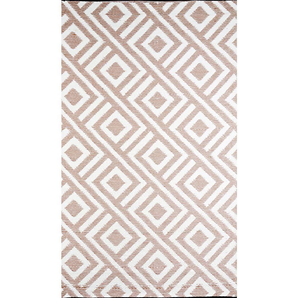 b.b.begonia Carpette d'intérieur/extérieur, 6 pi x 9 pi, style contemporain, rectangulaire, havane Malibu