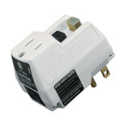 Single Outlet White GFCI Adapter with Manual Reset