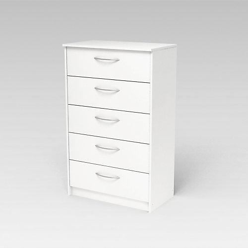 Finch 27.5-inch x 44.5-inch x 15.63-inch 5-Drawer Chest in White
