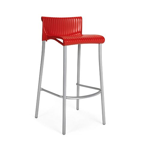 Duca Stacking Resin Barstool with Anodized Aluminum Legs -(Red)