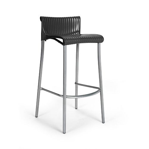 Duca Stacking Resin Patio Barstools with Anodized Aluminum Legs in Anthracite