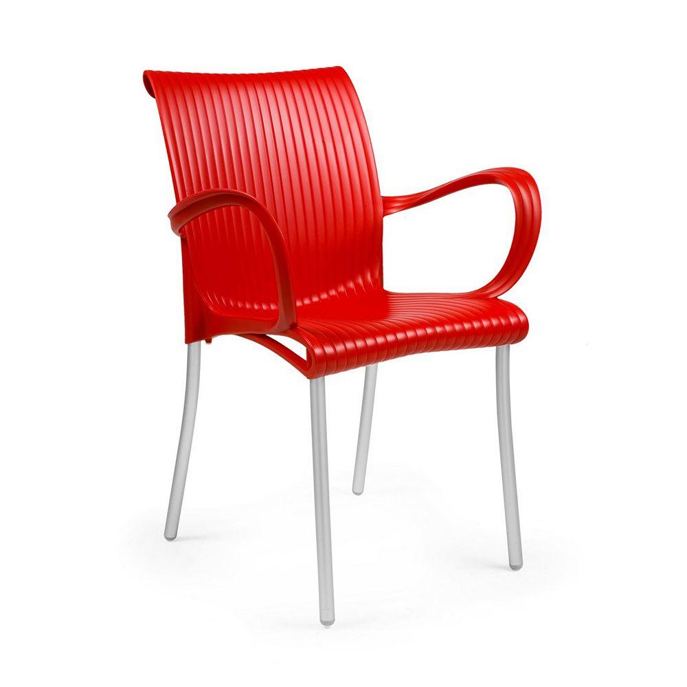 Nardi DAMA Fauteuil empilable en résine avec des jambes en aluminium anodisé - (Rouge)