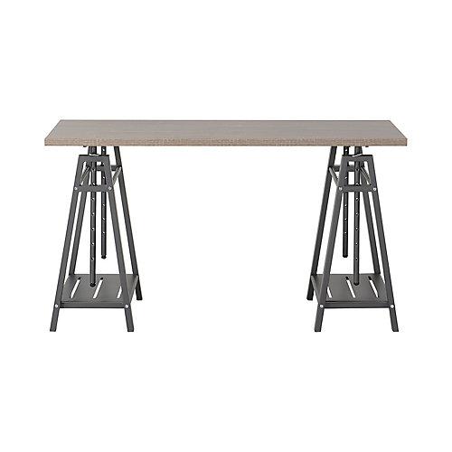 Height Adjustable Desk In Reclaimed Wood
