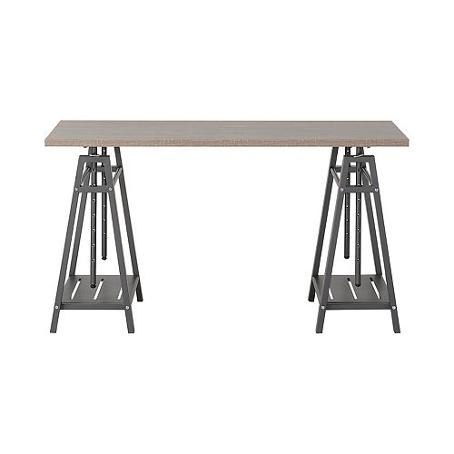 Height Adjustable Desk In Reclaimed Wood